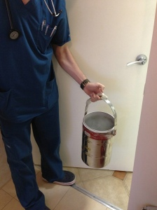 The bucket is waiting for me to get up an pour out the contents.  No more stem cells in there.