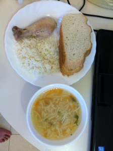 veggie noodle soup, boiled chicken, and rice.