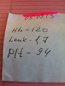 Sept. 5, 2013 Hemoglobin 120 Leukocytes 1.7 Platelets 94
