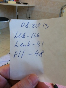 Sept. 8, 2013 Hemoglobin 116 Leukocytes 0.1 Plts 48