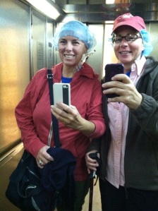 Kristy and I looking like lunch ladies.